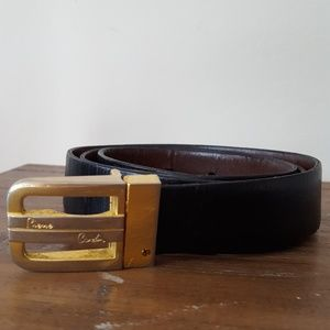 PIERRE CARDIN Spain hammered brass leather belt